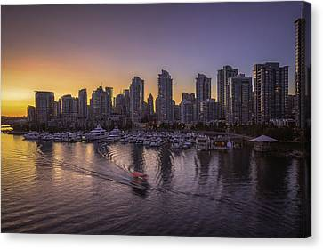 Vancouver Canvas Print - Sunset And The Seabus by Chris Fletcher