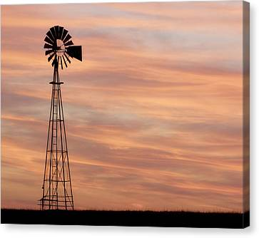 Sunset And Windmill 05 Canvas Print
