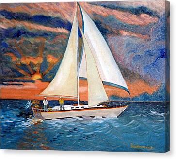Sunset And Yacht Canvas Print by Kostas Koutsoukanidis