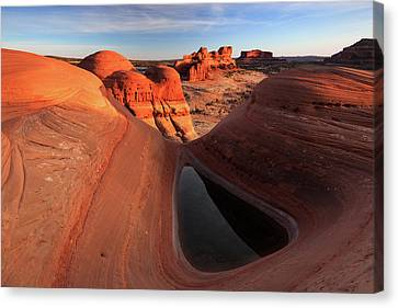 Canvas Print featuring the photograph Sunset At A Desert Pool, Moab. by Johnny Adolphson