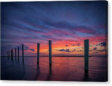 Sunset At Cedar Beach Marina Canvas Print by Rick Berk