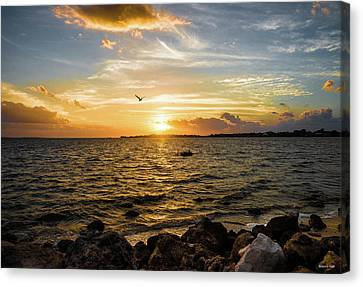Sunset At Cedar Key Canvas Print by Rebecca Hiatt