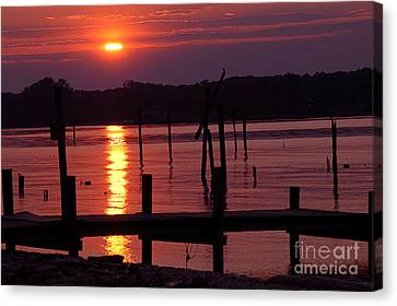 Bruster Canvas Print - Sunset At Colonial Beach by Clayton Bruster