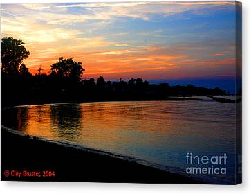 Bruster Canvas Print - Sunset At Colonial Beach Cove by Clayton Bruster