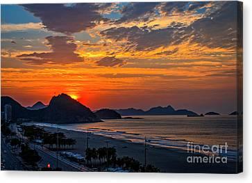 Sunset At Copacabana Canvas Print