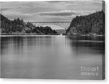 Oak Harbor Canvas Print - Sunset At Deception Pass - Black And White by Adam Jewell