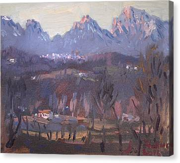 Sunset At Dolomites Belluno Canvas Print by Ylli Haruni