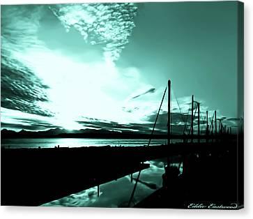 Sunset At Edmonds Washington Boat Marina 1 Canvas Print by Eddie Eastwood