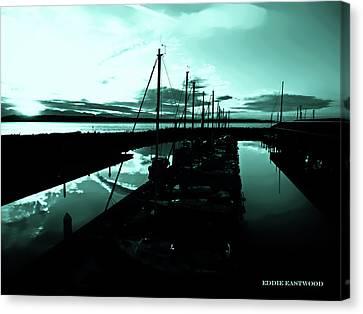 Sunset At Edmonds Washington Boat Marina 2 Canvas Print by Eddie Eastwood