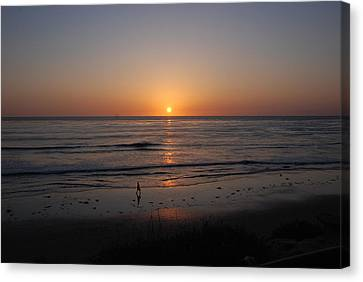 Sunset At Eljio Beach California Canvas Print by Susanne Van Hulst