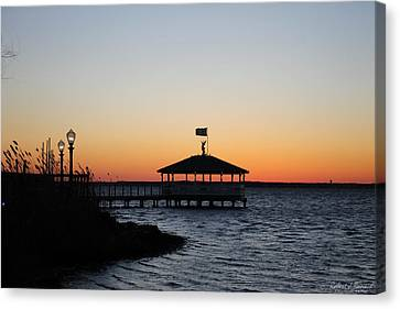 Sunset At Fagers Island Gazebo Canvas Print