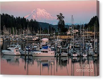 Sunset At Gig Harbor Marina With Mt Rainier Canvas Print by Yefim Bam