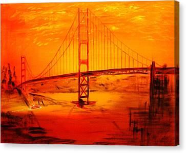 Sunset At Golden Gate Canvas Print by Helmut Rottler