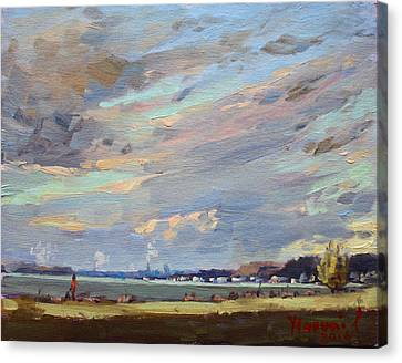 Sunset At Fishermans Park Canvas Print by Ylli Haruni