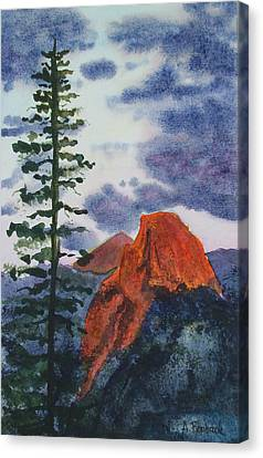 Sunset At Half Dome Canvas Print by Ally Benbrook