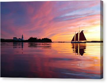 Sunset At Head Harbor Canvas Print by Don Dunbar