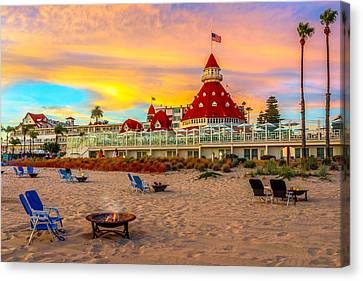 Sunset At Hotel Del Coronado Canvas Print by James Udall