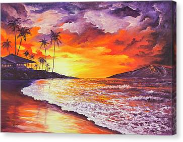 Canvas Print featuring the painting Sunset At Kapalua Bay by Darice Machel McGuire