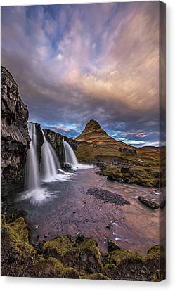 Sunset At Kirkjufellsfoss Canvas Print