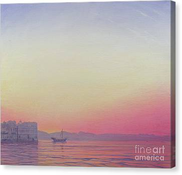 Sunset At Lake Palace, Udaipur Canvas Print by Derek Hare