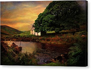 Abandoned House Canvas Print - Sunset At Lake. Rural Ireland. Wicklow by Jenny Rainbow