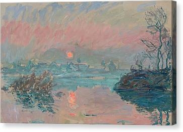 Sunset At Lavacourt Canvas Print by Claude Monet