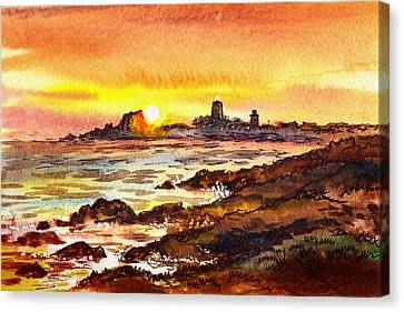 Canvas Print featuring the painting Sunset At Lighthouse Piedras Blancas  by Irina Sztukowski