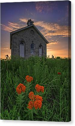 Old School Houses Canvas Print - Sunset At Lower Fox Creek Schoolhouse by Rick Berk