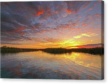 Sunset At Loxahatchee National Wildlife Refuge Near Florida Boyton Beach Canvas Print by Juergen Roth