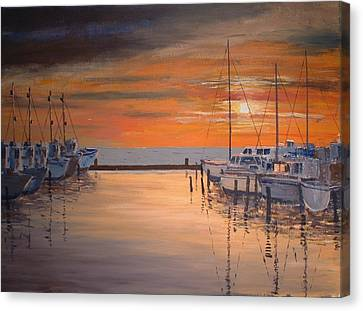 Sunset At Marina Canvas Print