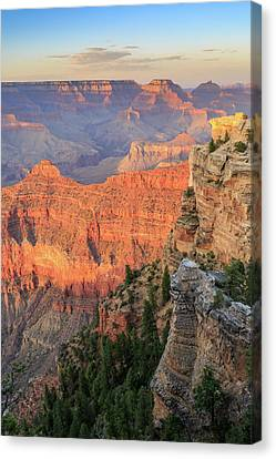 Canvas Print featuring the photograph Sunset At Mather Point by David Chandler