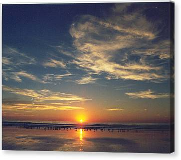 Sunset At Moonlight Beach Canvas Print by PJ  Cloud