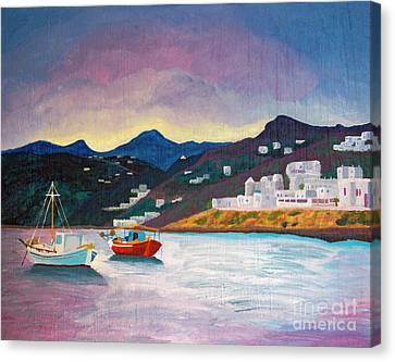 Sunset At Mykonos Canvas Print