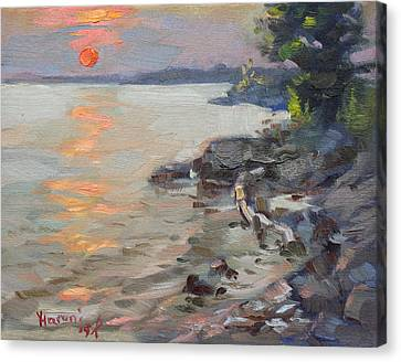 Riverscape Canvas Print - Sunset At Niagara River by Ylli Haruni