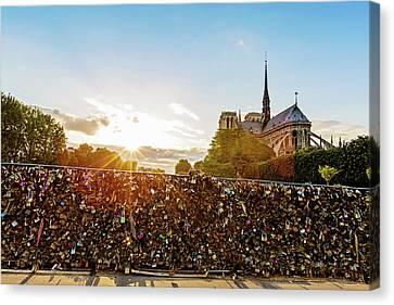 Sunset At Notre Dame De Paris Canvas Print