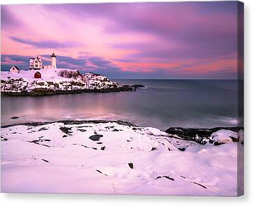 Sunset At Nubble Lighthouse In Maine In Winter Snow Canvas Print