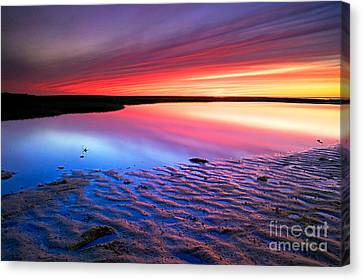 Sunset At Paines Creek Cape Cod Canvas Print by Matt Suess