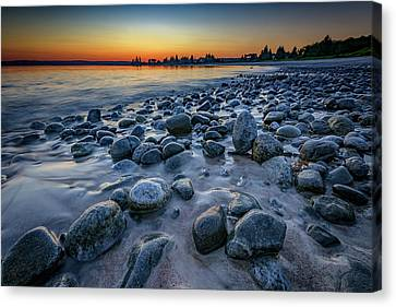 Sunset At Pemaquid Beach Canvas Print by Rick Berk