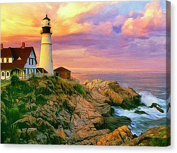 Sunset At Portland Head Canvas Print