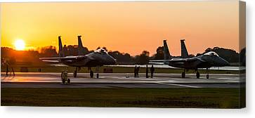 Sunset At Raf Lakenheath Canvas Print by Tim Beach