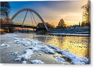 5dmk3 Canvas Print - Sunset At Riverside by Mario Mesi