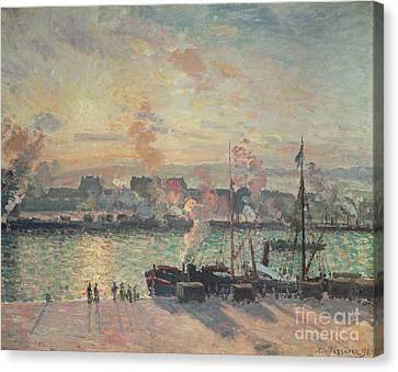 Sun Rays Canvas Print - Sunset At Rouen by Camille Pissarro