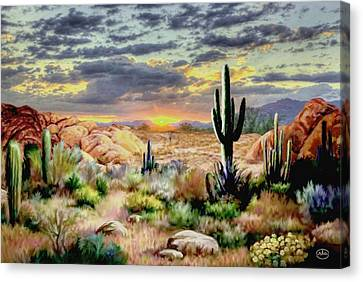 Sunset At Sadona Canvas Print by Ron Chambers