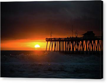 Sunset At San Clemente Pier Canvas Print by MindGourmet