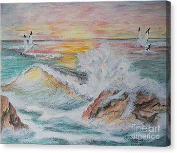 Sunset At Sea Canvas Print by Carol Grimes