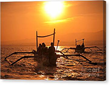 Pyrography Canvas Print - Sunset At Sea Indonesia by Andy Maryanto