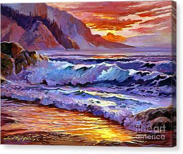 Sunset At Shipwreck Beach Canvas Print by David Lloyd Glover