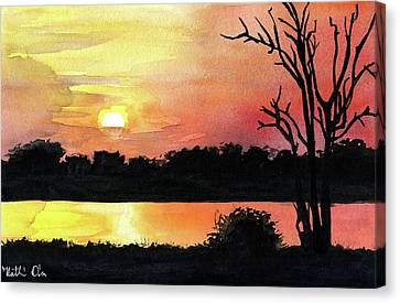 Canvas Print featuring the painting Sunset At Shire River In Malawi by Dora Hathazi Mendes