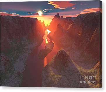 Sunset At The Canyon Canvas Print by Gaspar Avila