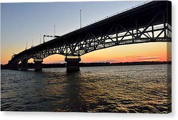 Sunset At The Coleman Bridge Canvas Print